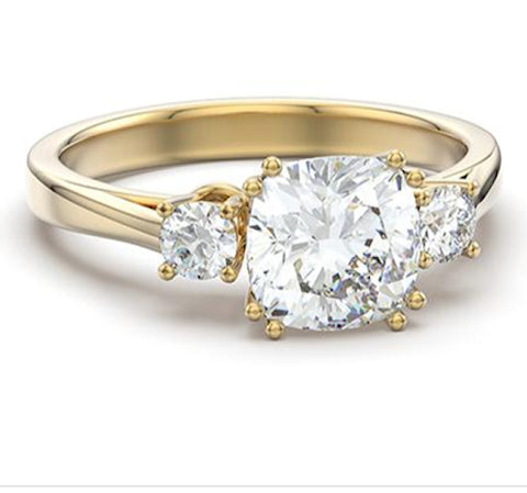 3.65ct Royal Engagement Ring Three Stone Yellow Gold Ring