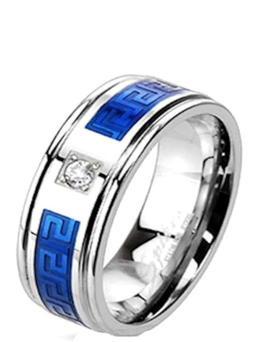 Men's Blue Stainless Steel Cz Wedding Band