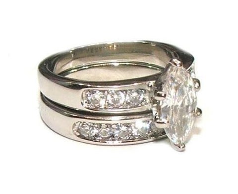 225 Ct Marquise Cut Cubic Zirconia Solitarie Wedding Ring Set Stainless Steel