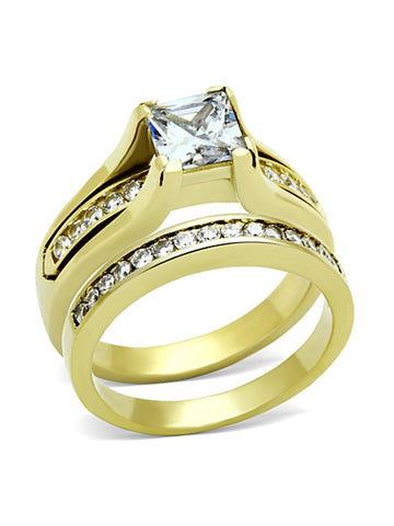 Women's Yellow Gold Plated Cz Wedding Engagement Ring Set - Edwin Earls Jewelry
