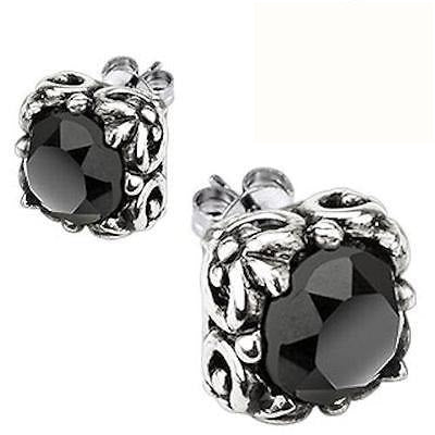 Men's Women's Black Stainless Steel 8 mm Round Cut Black Cz Stud Earrings