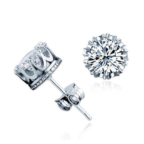 Hearts and Arrows Solid 925 Sterling Silver Simulated Diamond Cz Crown Stud Earrings