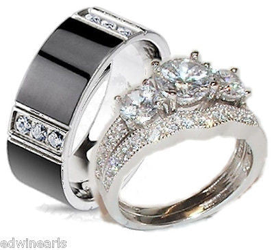 His Hers Cz Wedding Ring Set Sterling Silver & Titanium Wedding Rings - Edwin Earls Jewelry