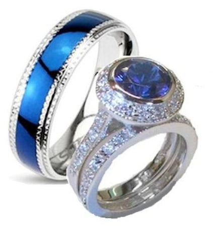 His Hers Cz Wedding Ring Set Sterling Silver Stainless Steel