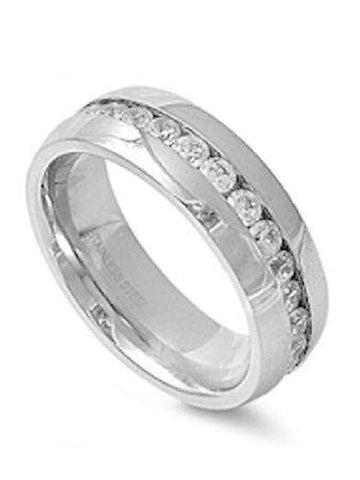Stainless Steel  Cz Eternity Wedding Engagement Band
