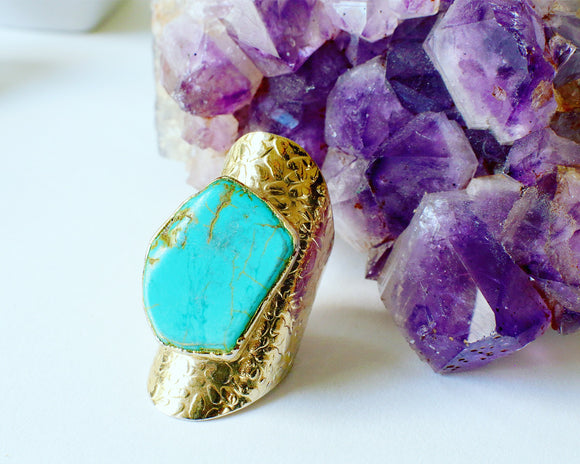 Blue Turquoise Cuff Ring