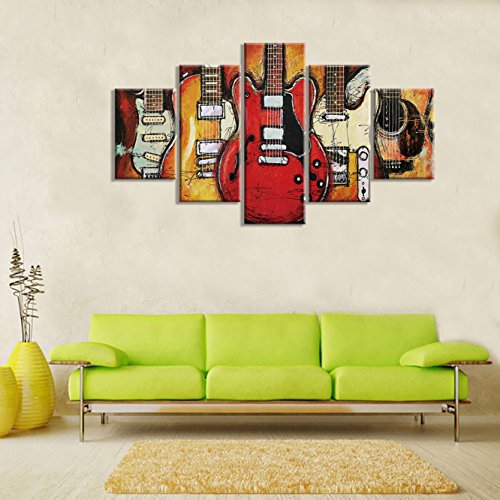 Guitar Music Wall Art Abstract Artwork Canvas Prints Art Home Decor for Living Room Bedroom Modern Still Life Pictures Gift 5 Panel Large Posters HD Printed Painting Framed Ready to Hang(60
