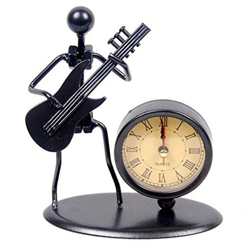 Classic Vintage Old Fashion Iron Art Guitar Clock Figure Ornament For Home Office Desk Decoration Gift