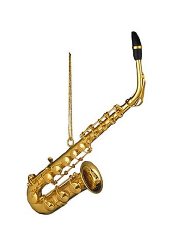 "4.5"" Gold Saxophone Christmas Ornament"