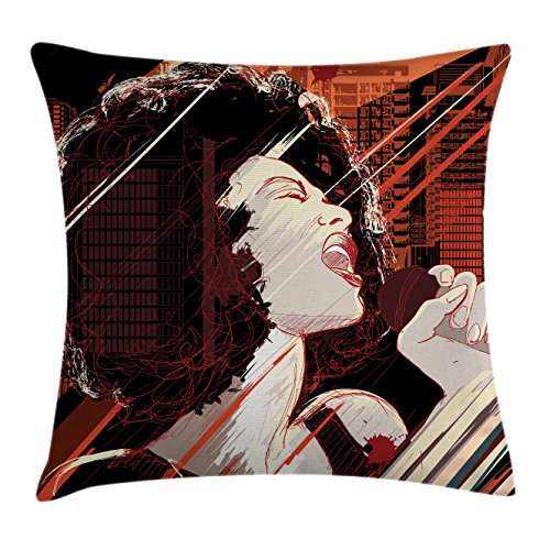 Ambesonne Afro Decor Throw Pillow Cushion Cover, Jazz Singer Woman Performing on Grunge Background Musical Sound Illustration, Decorative Square Accent Pillow Case, 16 X 16 inches, Black Red