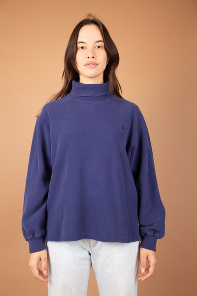 oversize textured navy turtleneck with ralph lauren emblem embroidered on left chest
