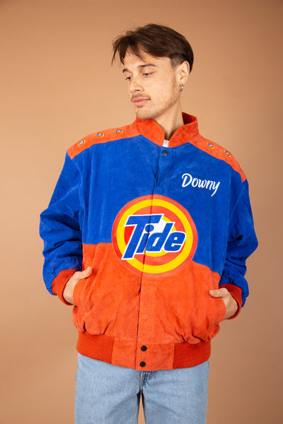 Model wearing Tide Pods Bomber Jacket, Magichollow