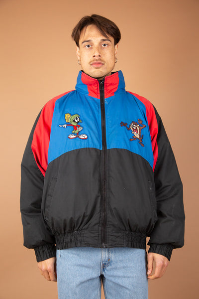 Looney Tunes puffer jacket in blue, black and red