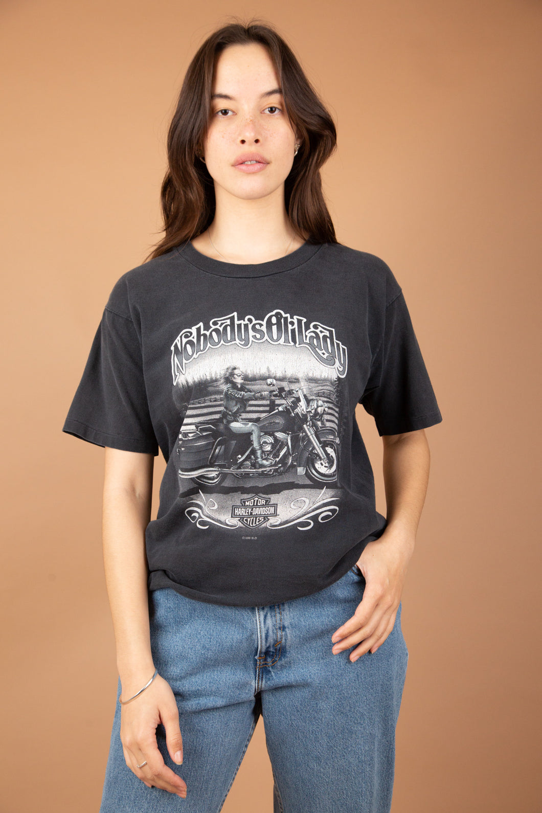 Model wearing Harley Davidson Tee, magichollow