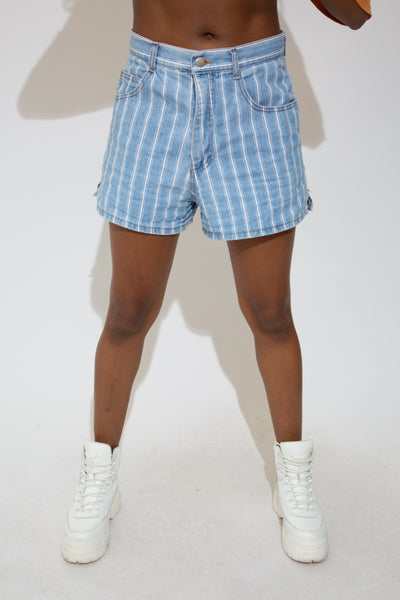 Pinstripe Denim Shorts