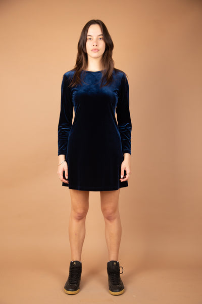 blue/black velvet-feel longsleeve minidress - magichollow