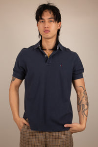 navy blue polo-shirt. short sleeved. vintage at magichollow