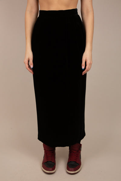 black velvet skirt with split at back