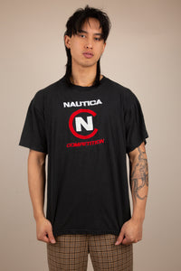 faded black tee with bootleg nautica embroidered text and logo on front