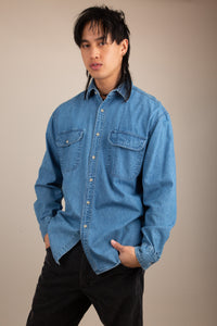 mid-wash denim-look button up - vintage by magichollow