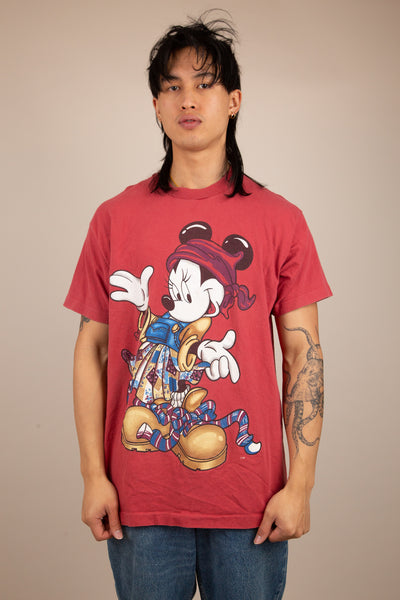 maroon tee with large graphic of minnie mouse in a fire alty fit!