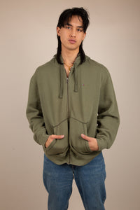 khaki zip-up hoodie with embroidered tommy flag detailing on left chest