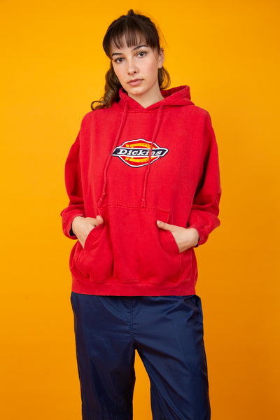 Red hoodie with dickies logo embroidered on the front  - magichollow