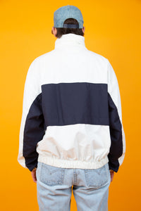white sailing jacket with navy stripe across middle - vintage - magichollow