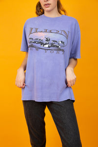 Purple oversized tee with distressing, single-stitch and a cow graphic on the front. vintage, magichollow