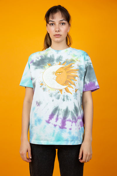 multicoloured tie-dye tee with sun and moon graphic - vintage - magichollow