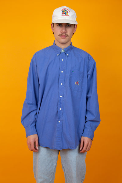indigo button-up shirt with embroidered tommy crest