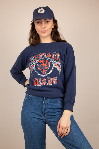 navy sweater with chicago bears spell-out and logo graphic