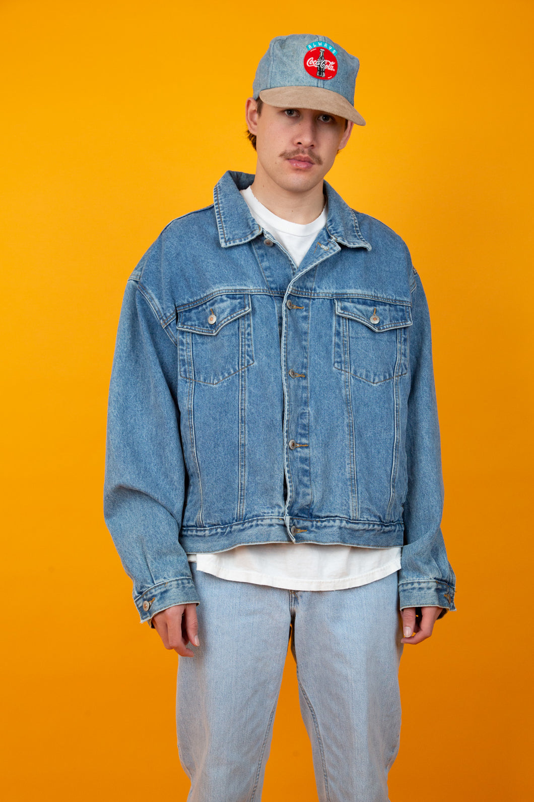oversize mid-wash denim jacket