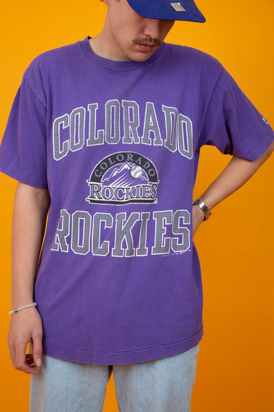 Purple single-stitch vintage tee with colorado rockies baseball spell-out and logo - magichollow
