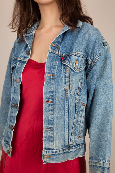 mid-wash Levi''s denim jacket
