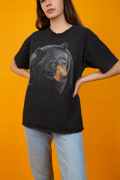 black vintage tee with bear graphic on front - magichollow