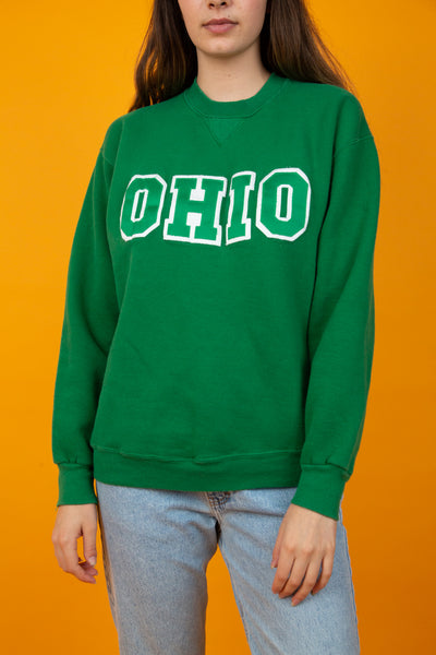 Green vintage sweater with large ohio spell-out across chest - magichollow