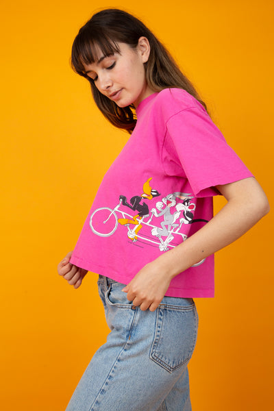 model wearing pink Looney Tunes tee, magichollow
