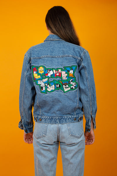 Model Wearing Looney-Tunes Denim Jacket, magichollow