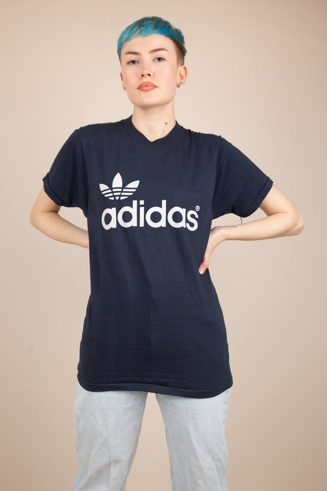 Model wearing Adidas Tee, buy now from magichollow