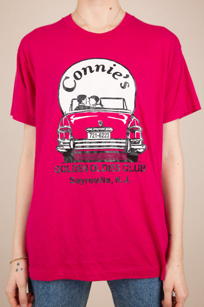 Model wearing pink Connie's tee, magichollow