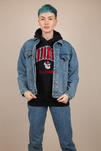 Model wearing denim jacket, magichollow