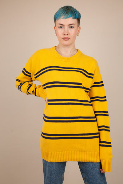 Model wearing knitted stripe jumper, buy now from magichollow