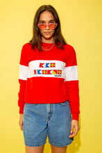 Load image into Gallery viewer, Cute fitted red sweater with a white panel across the middle with a flag graphic and a 'Maine' spell-out. Maine is a State in the North East of the USA that is famous for its jagged, rocky coastline, low, rolling mountains, heavily forested interior, picturesque waterways, and its seafood cuisine.