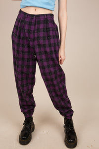 purple and black checked wool pants