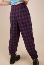 Load image into Gallery viewer, purple and black checked wool pants