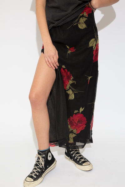 floral maxi skirt with side splits