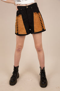 black high-waist denim shorts with brown laced suede detailing