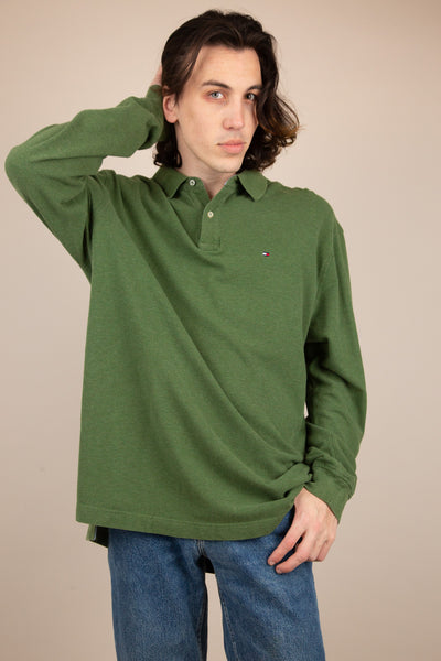 green tommy hilfiger ls polo. 90s vintage. magichollow.