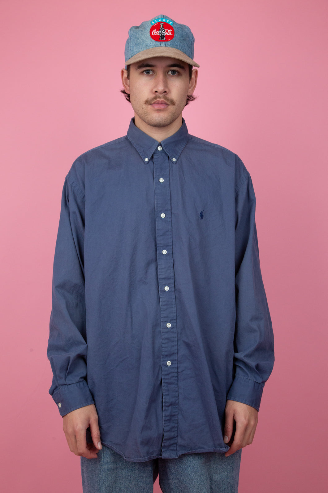 oversize navy button up with embroidered ralph lauren emblem